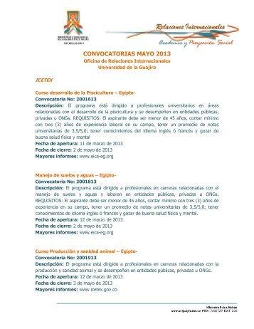 CONVOCATORIAS MAYO 2013 - Universidad de La Guajira