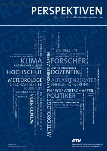 Berufe in Umweltnaturwissenschaften - ETH - ETH Zürich