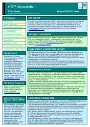 HRP Newsletter 1 Jan 2008 - Research Institute for Health and ...