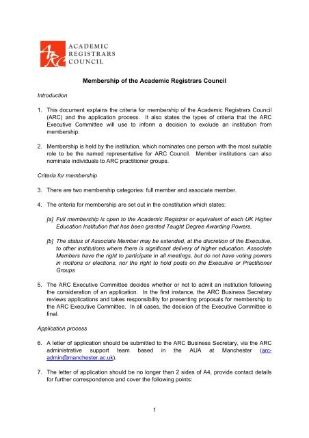 Membership of the Academic Registrars Council - ARC