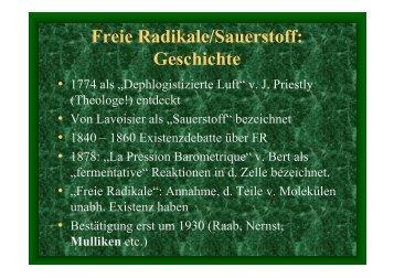 Freie Radikale/Sauerstoff - Institut für Physiologische Chemie