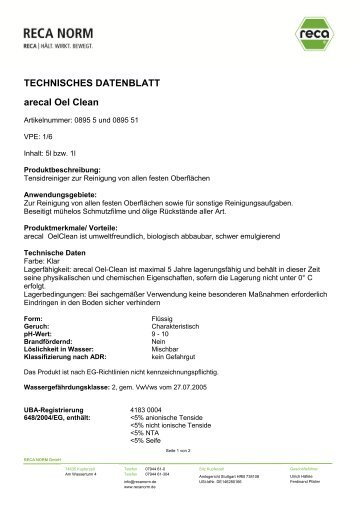 0895 5 Werkstattreiniger Oelclean.pdf - RECA NORM