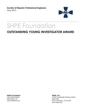 SHPE Foundation OUTSTANDING YOUNG INVESTIGATOR AWARD