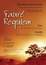 Wimbledon Choral Society Finzi Lo, the Full Final Sacrifice Howells ...