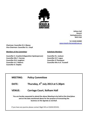Policy Committee - Newark and Sherwood District Council