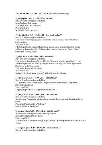 VASARAS ABC vai DO – RE – MI Krišjāņa Barona muzejā 5. jūnijā ...