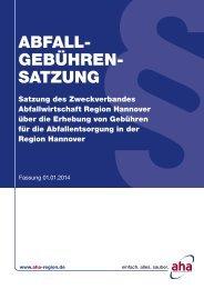 SAtzunG - Neue Müllgebühren Region Hannover 2014