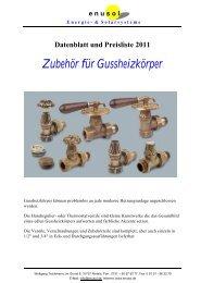 Datenblatt und Preisliste 2011 Zubehör für Gussheizkörper - Enusol