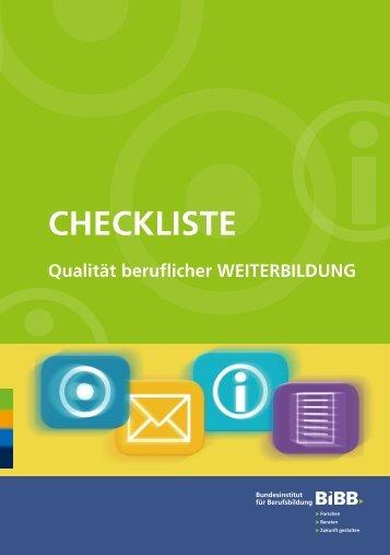 Checkliste Qualität beruflicher Weiterbildung - Bildungsprämie