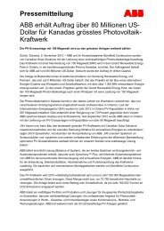 Pressemitteilung ABB erhält Auftrag über 80 Millionen US - ABB Group