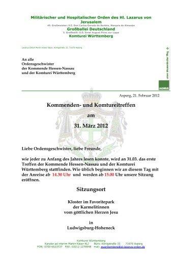 Kommenden - Lazarus Orden in Deutschland