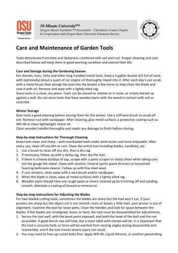 Care and Maintenance of Garden Tools - Metro Master Gardeners