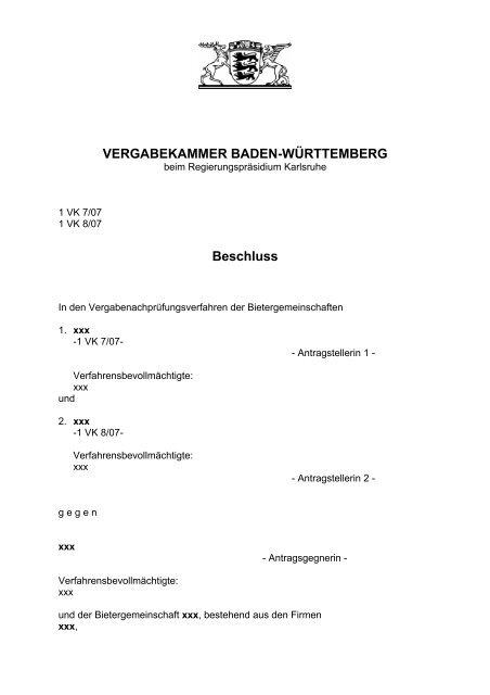 VERGABEKAMMER BADEN-WÜRTTEMBERG Beschluss