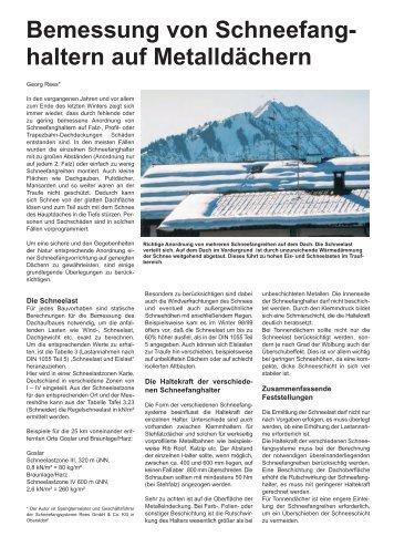 Bemessung von Schneefang- haltern auf Metalldächern - Rees