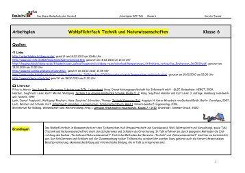 Arbeitsplan Wahlpflichtfach Technik Und Naturwissenschaften .