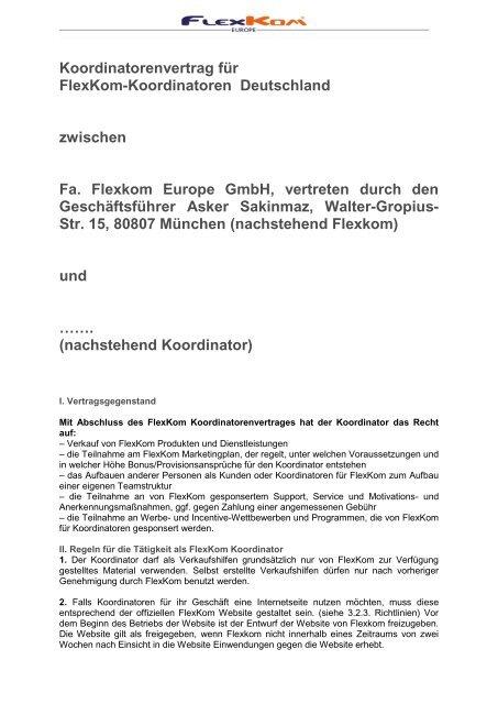 nachstehend Koordinator - FlexKom