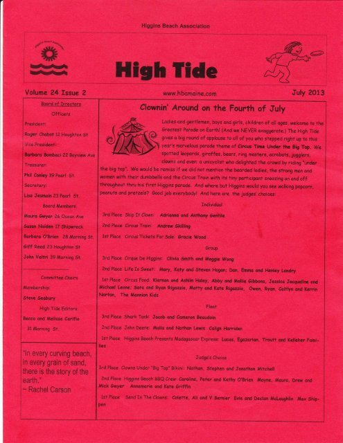 Volume 24 Issue 2 - July, 2013 - Higgins Beach Association