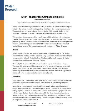 Brown-Nicollet SHIP Tobacco-free Campuses Initiative