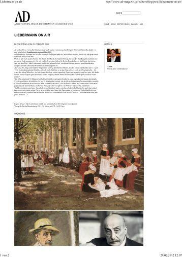 AD - Architectural Digest, 28.02.12. - Verlag für Berlin-Brandenburg