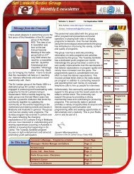 Message from the Convenor In This Issue - Sri Lankan Group of ...
