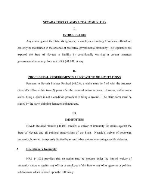 Nevada Revised Statutes >> Nevada Tort Claims Act Immunities I Cozen O Connor