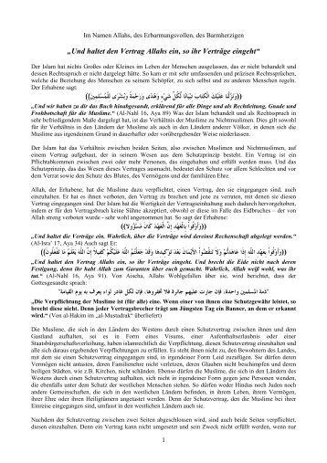 """""""Und haltet den Vertrag Allahs ein, so ihr Verträge ... - Hizb-ut-Tahrir"""