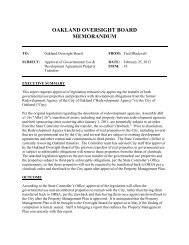 OAKLAND OVERSIGHT BOARD MEMORANDUM - City of Oakland