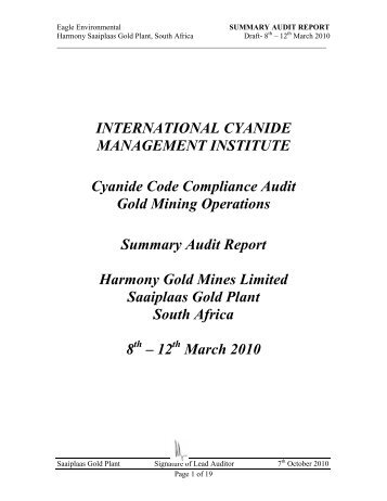 Summary Audit Report - International Cyanide Management Code