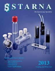 Catalog and Price List Quartz and Glass Cells for ... - Starna Cells