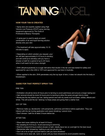 1. TIPS on preparing for & looking after your tan - Tanning Angel