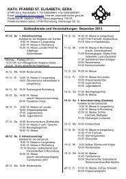 Gottesdienste & Veranstaltungen - Katholische Pfarrei St. Elisabeth