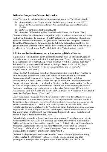 Politische Integrationsformen: Diskussion - Ethnomaps.ch