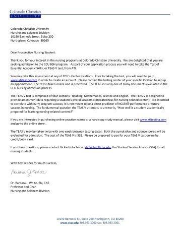 ATI Test Instruction Letter - Colorado Christian University