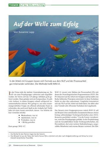 Auf der Welle zum Erfolg – erschienen in - WildWechsel.biz