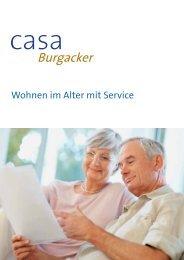 Broschüre Casa Burgacker - Wohnen im Alter mit Services