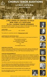 CHORUS TENOR AUDITIONS - Lyric Opera of Chicago