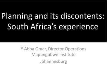 Planning and its discontents: South Africa's experience