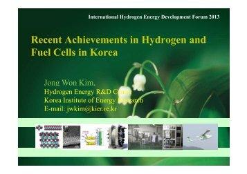 Recent Achievements in Hydrogen and Fuel Cells in Korea