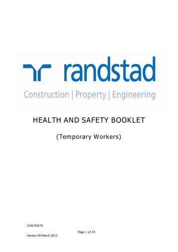 HEALTH AND SAFETY BOOKLET - Randstad