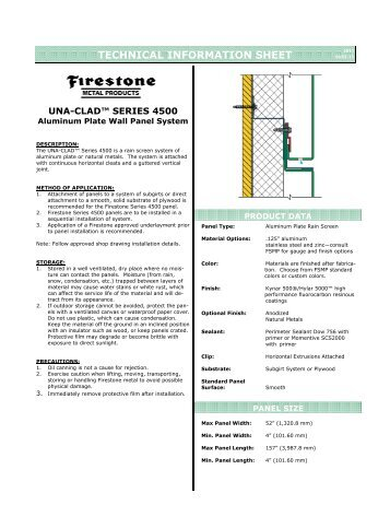 Series 2500 Aluminum Plate Panel Firestone Metal Products Una