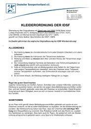 KLEIDERORDNUNG DER IDSF - DTV