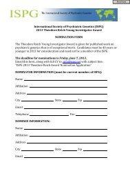 2013 Theodore Reich Young Investigator Award NOMINATION ...