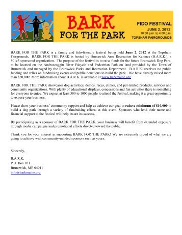 BARK FOR THE PARK is a family and fido-friendly festival being ...