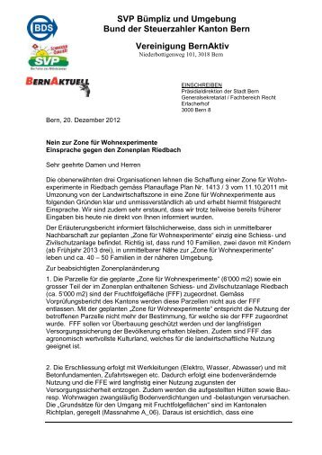 Einsprache als PDF-Datei - BernAktuell