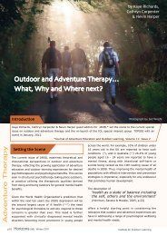 Outdoor and Adventure Therapy… What, Why and Where next?