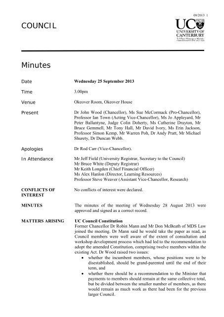 Minutes - University of Canterbury
