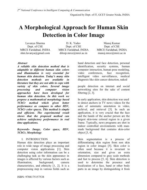 A Morphological Approach for Human Skin Detection in Color