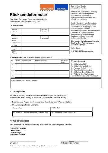 rma formular