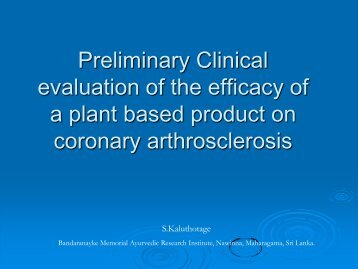 Clinical Evaluation of the Efficacy of Plant Based Product on ...