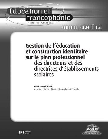 Gestion de l'éducation et construction identitaire sur le plan ... - acelf